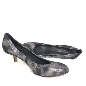 Donald Pliner Metallic Edgy Black & Silver Heels
